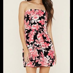 Forever 21 Pink Floral Pouf Tube Mini Dress